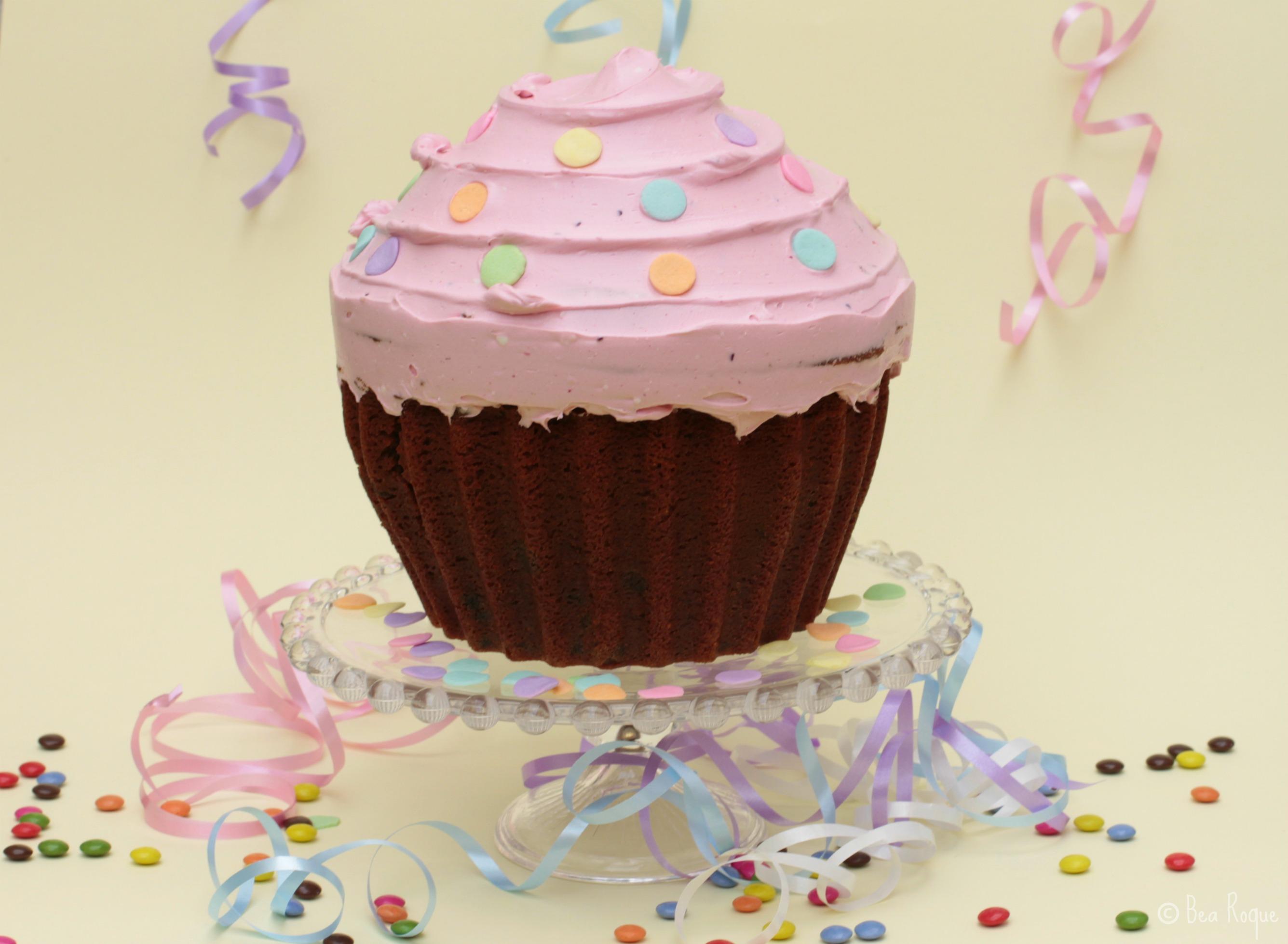 Un cupcake gigante, perfercto para una fiesta infantil